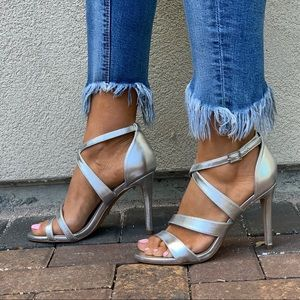 NIB Peep Toe Cross Strap Silver High Heel Sandals